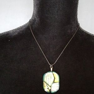 Jewelry - Awesome!! Edgy glass pendant necklace